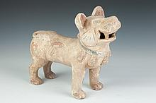 CHINESE POLYCHROME GREY POTTERY FIGURE OF DOG, Han Dynasty. - 11 in. high.