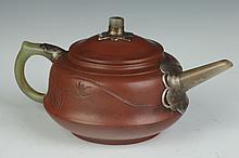 CHINESE YIXING AND JADE TEA POT, Yu Xishan maker's mark. - 7 1/4 in. long.