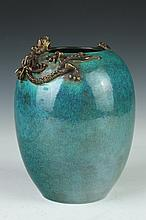 CHINESE BLUE PORCELAIN OVOID VASE, Qianlong mark. - 8 in. high.