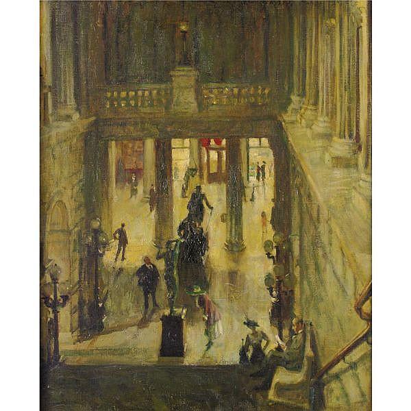 Robert Philipp 1895-1981 , Interior of the Metropolitan Museum oil on canvas