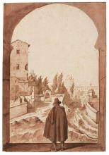 MICHELE PACE, CALLED MICHELANGELO DEL CAMPIDOGLIO | View of the <em>Torre delle Milizie</em> in Rome, with a man standing under an arch