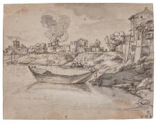 FOLLOWER OF CLAUDE GELL?E, CALLED CLAUDE LORRAIN | A river with a boat, and a village with a burning house