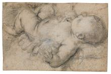 BOLOGNESE SCHOOL, 17TH CENTURY | <em>Recto</em>: A sleeping baby<br /><em>Verso</em>: Head of a man in profile to the left