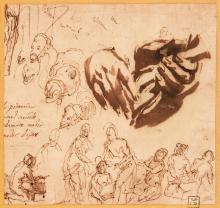 PAOLO CALIARI, CALLED IL VERONESE | A sheet of studies: a pair of hands holding a glove, camels and figure studies
