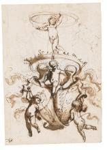 MAURO ANTONIO TESI | Heraldic Ornament<br /><em>Recto</em>: Two shields supported by putti;<br /><em>Verso</em>: A similar design