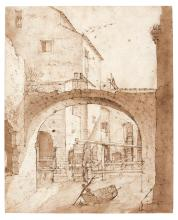 FILIPPO D'ANGELI OR DE LIAGNO, CALLED FILIPPO NAPOLETANO | A watermill and a ruined?arch, a man in a small boat in the foreground