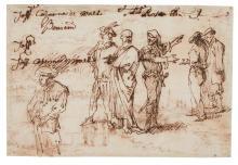 ITALO-FLEMISH SCHOOL, 17TH CENTURY | <em>Recto</em>: Studies of standing figures, some in conversation;<br /><em>Verso</em>: Coastal landscape?with figures