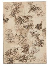 CENTRAL ITALIAN SCHOOL, 17TH CENTURY | A sheet of numerous studies, possibly for religious paintingsor for a frescoed ceiling scheme