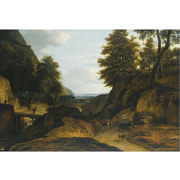 Roelant Roghman Amsterdam 1627 - 1692 , A wooded mountain landscape with a herdsman and his cattle, a traveler crossing a bridge over a stream oil on canvas, unframed