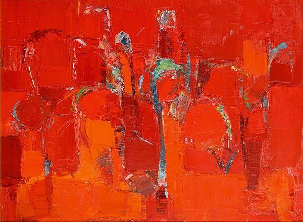 - GUY GREY-SMITH , Australian 1916-1981   PLANT SURVIVAL   Oil on canvas on composition board