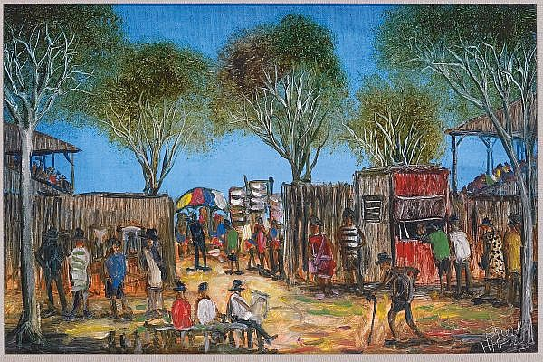 PRO HART , Australian 1928-2006 ST PAT'S RACEs, BROKEN HILL, BEHIND THE STANDS   Oil on canvas on board