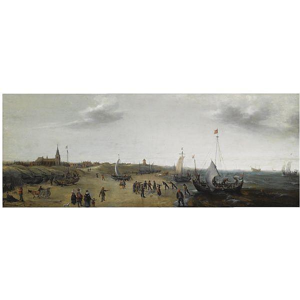 Hendrick Cornelisz. Vroom , Haarlem circa 1563 - 1640   A view of the beach at Scheveningen with fishermen unloading their catch, elegant figures strolling along the beach oil on panel