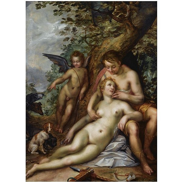 f - Hendrick Goltzius Mülbracht (Bracht-am-Niederrhein) 1558 - 1617 Haarlem , Venus and Adonis oil on panel