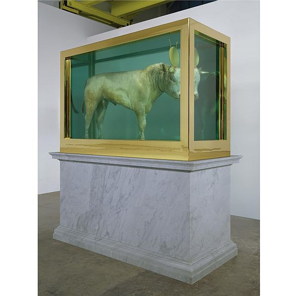 - Damien Hirst , b. 1965 The Golden Calf calf, 18 carat gold, glass, gold-plated steel, silicone and formaldehyde solution with Carrara marble plinth