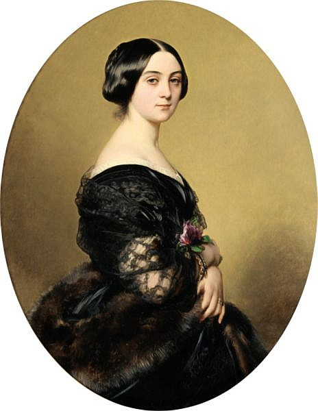 Franz-Xaver Winterhalter , Menzenschroand 1805 - 1873 Francfort Portrait de la Baronne Henri Hottinguer, née Caroline Delessert Franz Xaver Winterhalter ; Portrait of Baroness Henri Hottinguer ; signed, located and dated lower right F Winterhalter