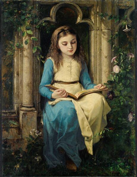 Charles-Louis-Lucien Müller , Paris 1815 - 1892 Paris Jeune fille lisant Charles Louis Müller ; young girl reading a book ; signed lower left ; oil on canvas Huile sur toile