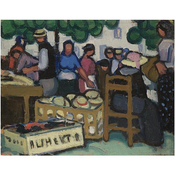 Jessica Dismorr , 1885-1939 Martigues Market 2 oil on wood panel