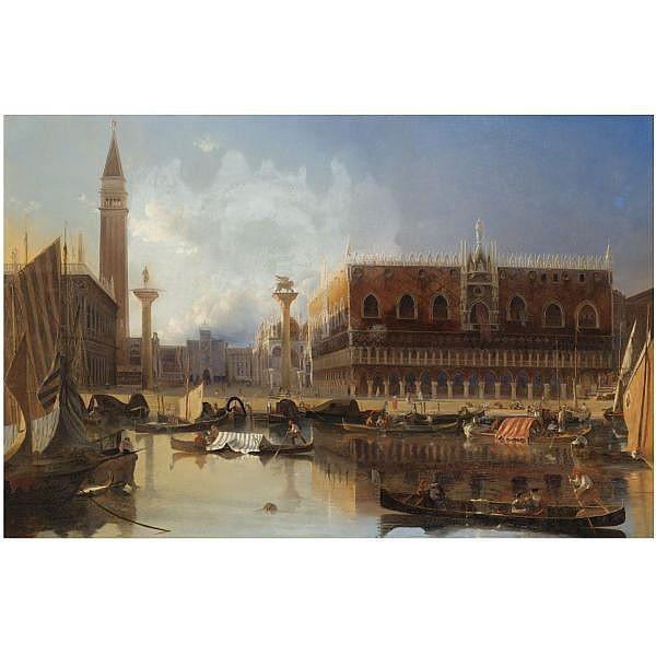 f - Eugène-Napoleon Flandin French, 1803-1876 , Vue de la Piazzetta San Marco et du Palais ducal de Venise oil on canvas