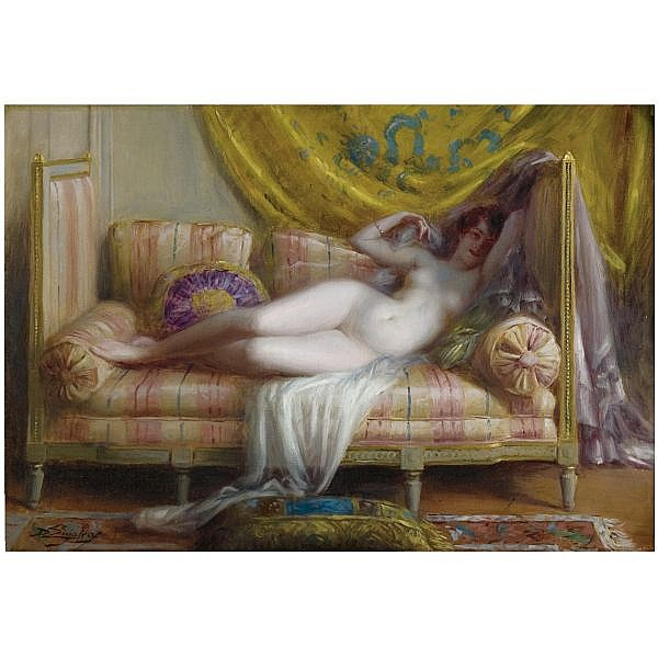 Delphin Enjolras French, 1857-1945 , Odalisque oil on canvas