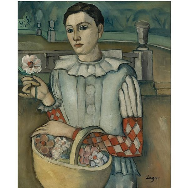 f - Celso Lagar Ciudad Rodrigo 1891-Sevilla 1966 , Arlequín (Harlequin with a Flower) oil on canvas