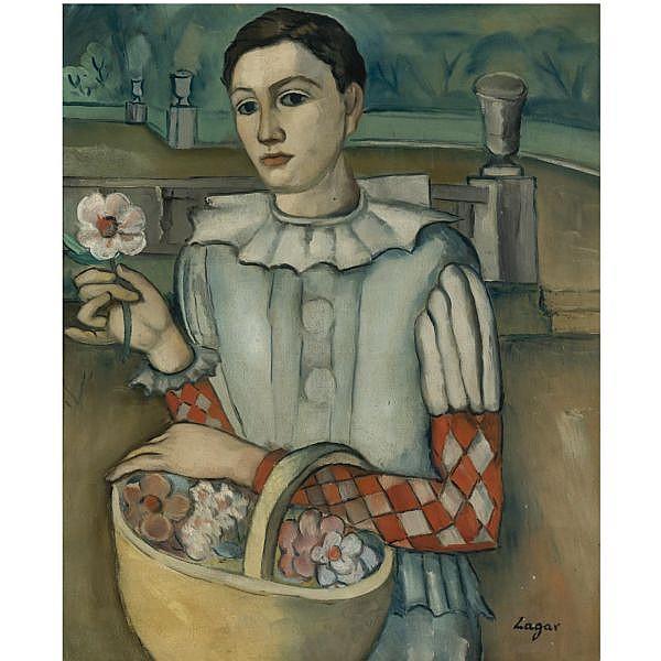 f - Celso Lagar Ciudad Rodrigo 1891-Sevilla 1966 , Arlequín (Harlequin with a Flower) oil on canvas