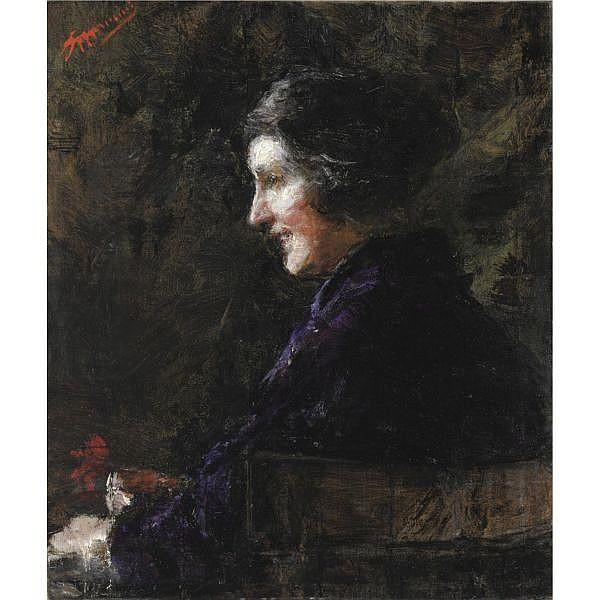 Antonio Mancini (Roma 1852 - 1930) , delia olio su tela