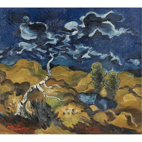 - Ludwig Meidner , 1884-1966 LANDSCHAFT MIT BIRKE (LANDSCAPE WITH BIRCH TREE) oil on canvas