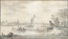 JAN JOSEFSZ. VAN GOYEN | Paysage fluvial avec des pêcheurs