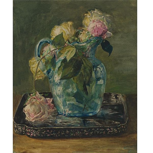John La Farge 1835-1910 , Roses in a Blue Crackle Glass Pitcher   watercolor and gouache over pencil on paper
