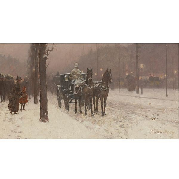 Childe Hassam 1859-1935 , Paris, Winter Day oil on canvas