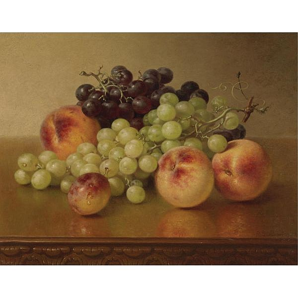 Robert S. Dunning 1829-1905 , Peaches and Grapes oil on canvas