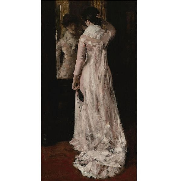William Merritt Chase 1849-1916 , I Think I Am Ready Now (The Mirror, The Pink Dress) oil on canvas