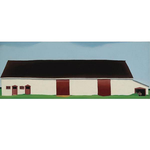 Georgia O'Keeffe 1887-1986 , White Barn with Cart (White Barn No. 4) oil on canvas