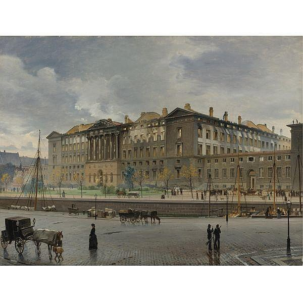 Carl Christian Andersen , Danish 1849 - 1906 Christiansborg Palace after the Fire oil on canvas
