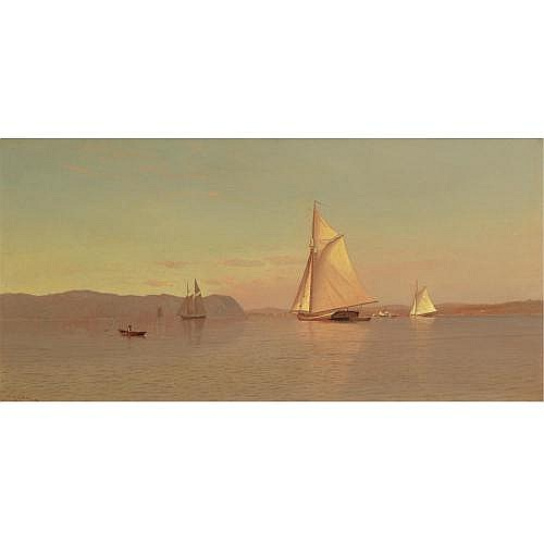 Francis A. Silva 1835-1886 , Sailing on the Hudson, Nyack