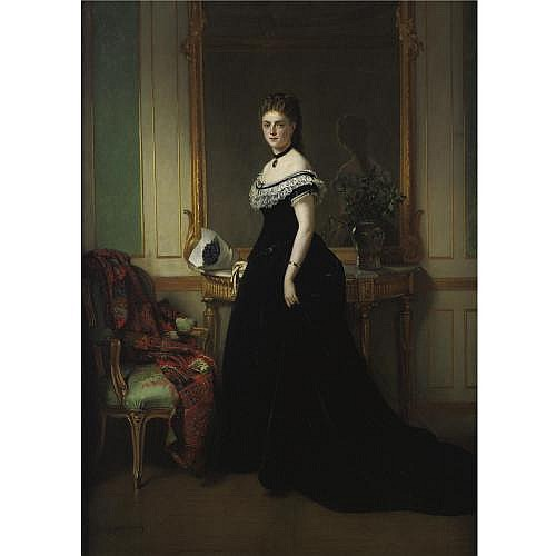 Eugène Accard 1824-1888 , Portrait of a Lady in a Black Velvet Dress