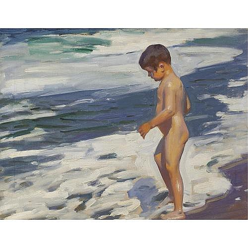 Benito Rebolledo Correa 1880-1964 , Boy on the Shore