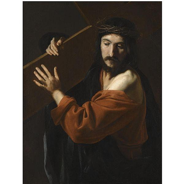 Nicolas Tournier , Montbéliard, Doubs 1590 - before February 1639 Toulouse Christ carrying the cross oil on canvas
