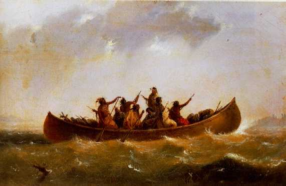 *ALFRED JACOB MILLER (1810-1874) INDIAN CANOE signed with the artist's monogrammed initials AJM, l.r.