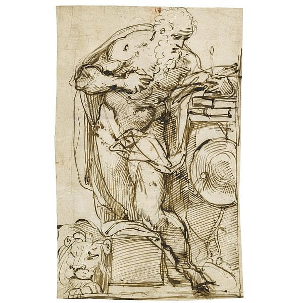 Agostino Carracci , Bologna 1557 - 1602 Parma recto : st jerome in his study; verso : a seated woman, partly draped Pen and brown ink with traces of red chalk ( recto ); pen and brown ink ( verso ); bears attribution in brown ink on reverse of old