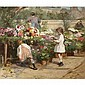Victor Gabriel Gilbert , French 1847-1933 The Young Flower Seller oil on canvas
