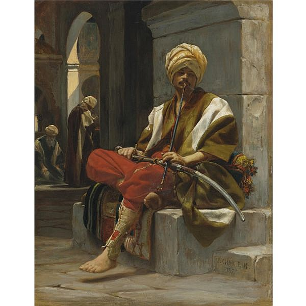 Théobald Chartran , French 1849-1907 The Chibouk Smoker oil on panel