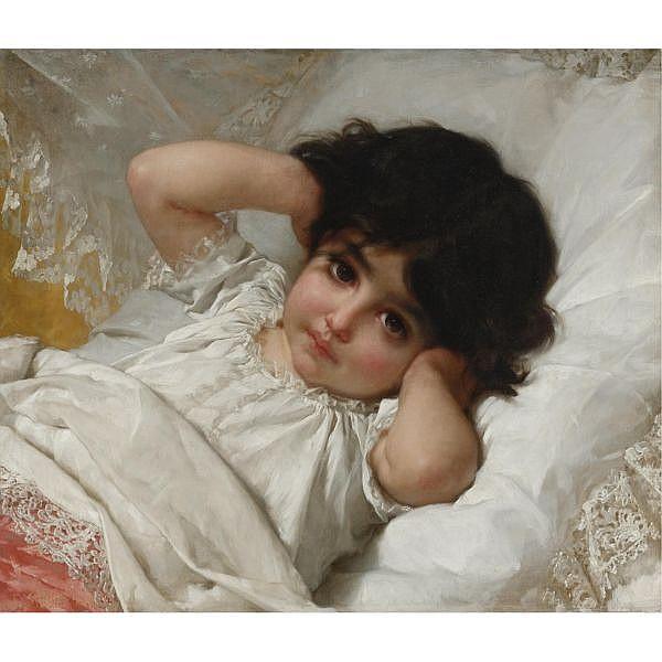 Émile Munier , French 1840-1895 Portrait de Marie-Louise   oil on canvas