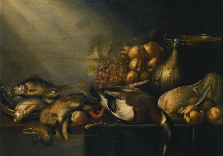HARMEN VAN STEENWIJCK | Still life with a dead hare and duck, fish, vegetables and an earthenware flagon, on a draped table