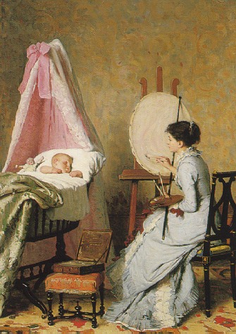 EDOUARD JOHN RAVEL (SWISS 1847-1920) A MOTHER AT HER EASEL