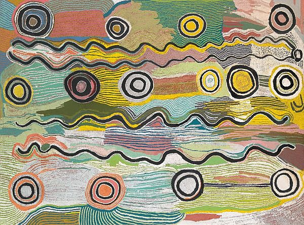 MAGGIE NAPANGARDI WATSON , 1921-2004 BUSH MUSHROOM DREAMING Synthetic polymer paint on linen