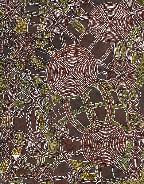 SHORTY LUNGKATA TJUNGURRAYI , CIRCA 1914-1987 TINGARI MEN'S DREAMING AT MITAKUJARRI   Synthetic polymer paint on linen