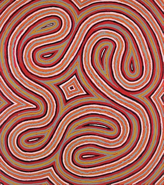 CLIFFORD POSSUM TJAPALTJARRI , CIRCA 1932-2002 WORM DREAMING Synthetic polymer paint on linen