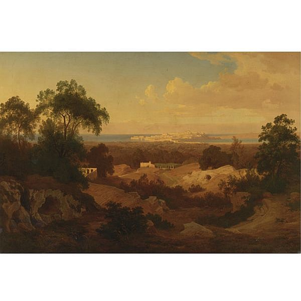 Prosper Georges Antoine Marilhat 1811-1847 , Sunset at Syracuse oil on canvas