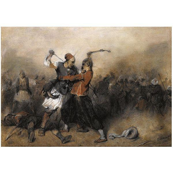 Alexandre-Gabriel Decamps , French 1803 - 1860 Battle Between a Greek and a Turk   pastel on paper